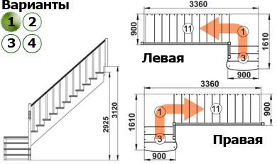 Лестница  К-002м/1  Л  сосна (5 уп)