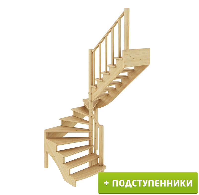 Лестница  К-003м/4 П с подступенками сосна (6 уп)